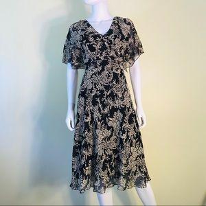 Adrianna Papell 100% Silk Chiffon Paisley Dress